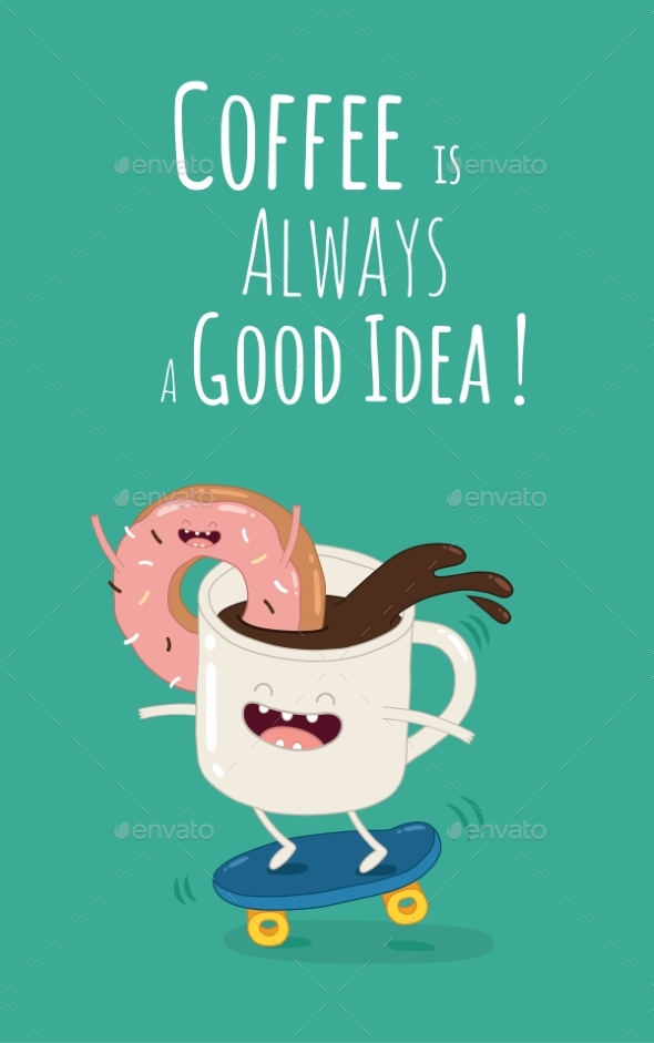 GraphicRiver Cartoon Comic Coffee Cup and Donut Take Coffee 20228106