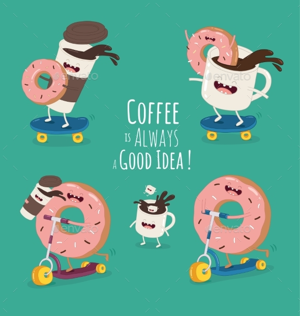 Cartoon Comic Coffee Cup and Donut. Take Coffee - Food Objects