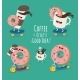 Cartoon Comic Coffee Cup and Donut. Take Coffee