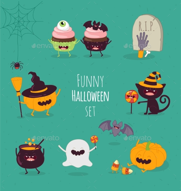 Halloween Characters Icon Set. - Animals Characters