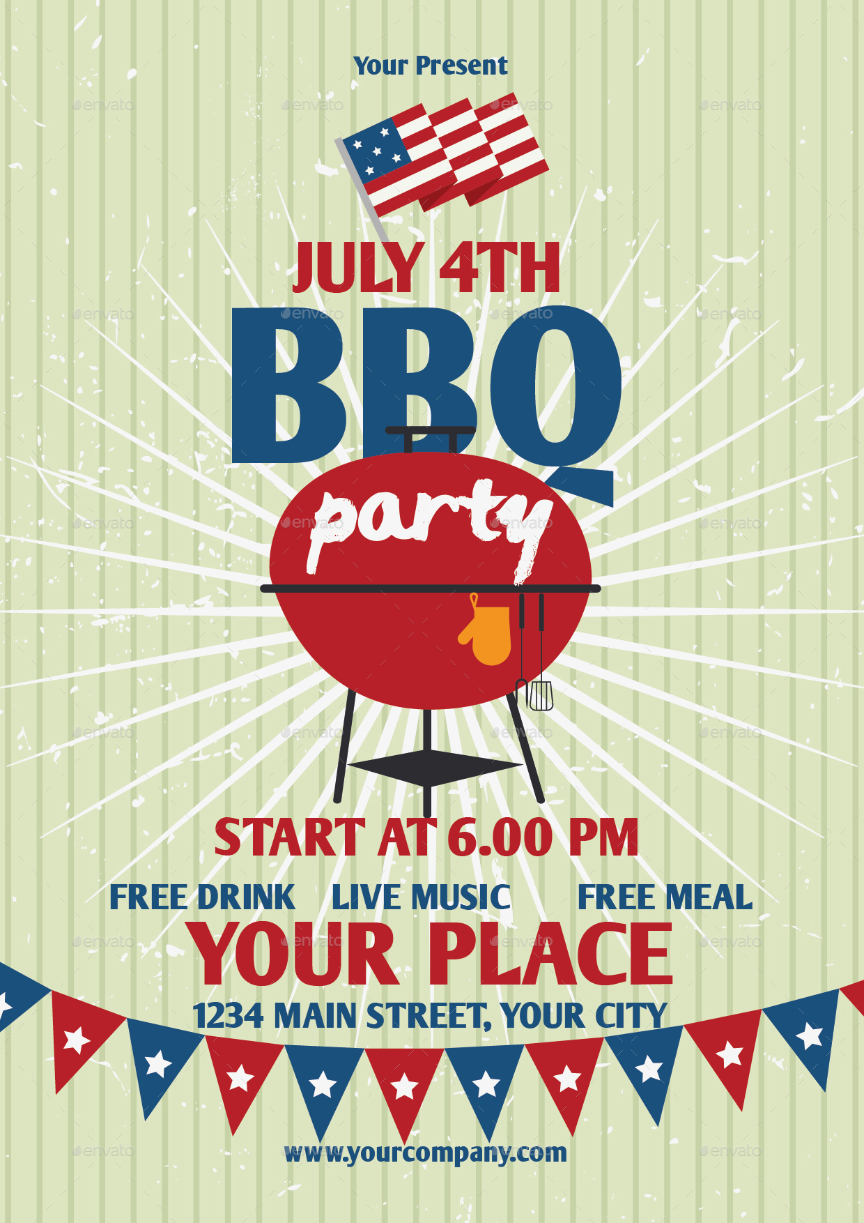 July 4th bbq party flyer template by lyllopop graphicriver for 4th of july menu template