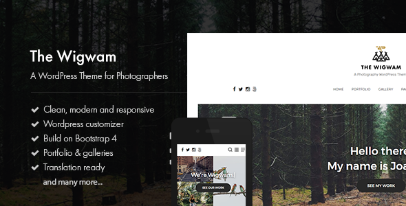 The Wigwam - A Responsive Photography WordPress Theme