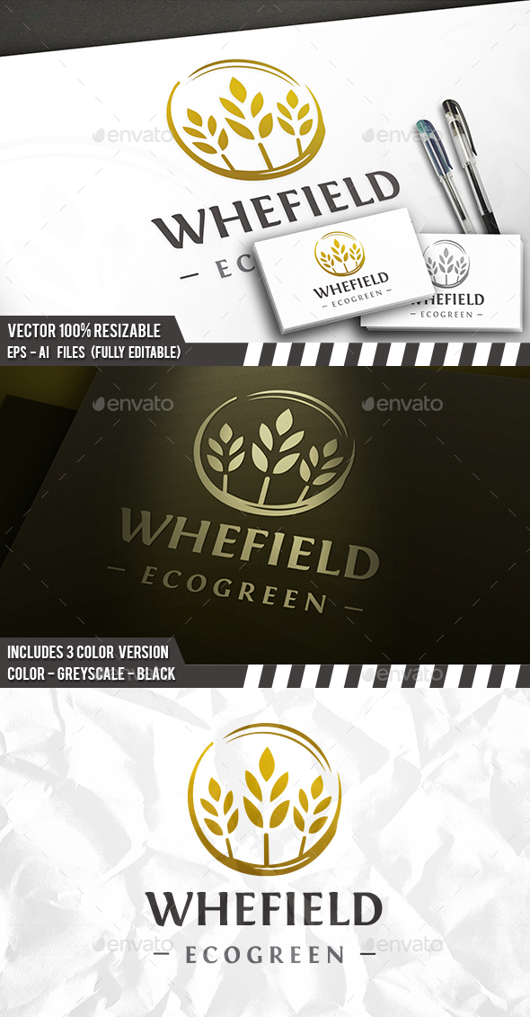 GraphicRiver Organic Wheat Circle Logo 20228479