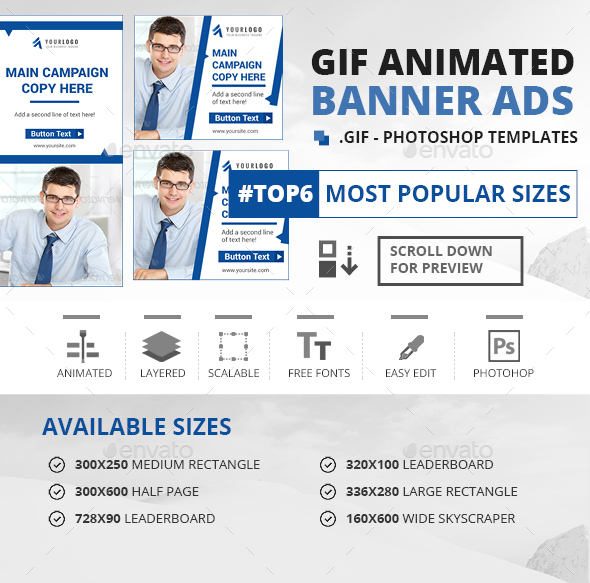 GIF Banners - Multipurpose Animated Banners - Banners & Ads Web Elements