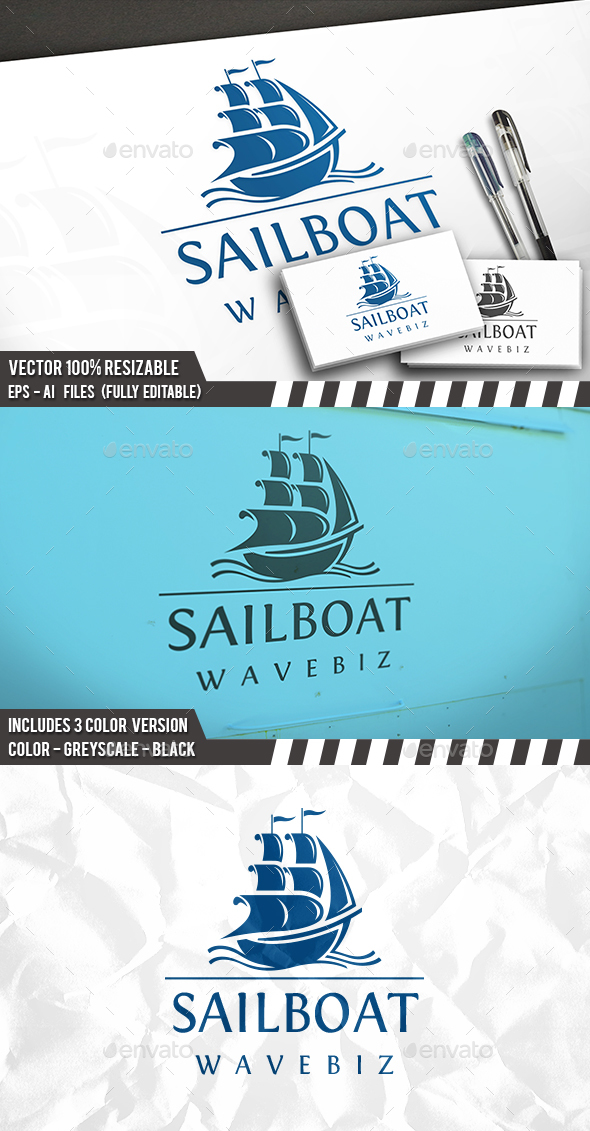 Sail Waves Logo - Objects Logo Templates