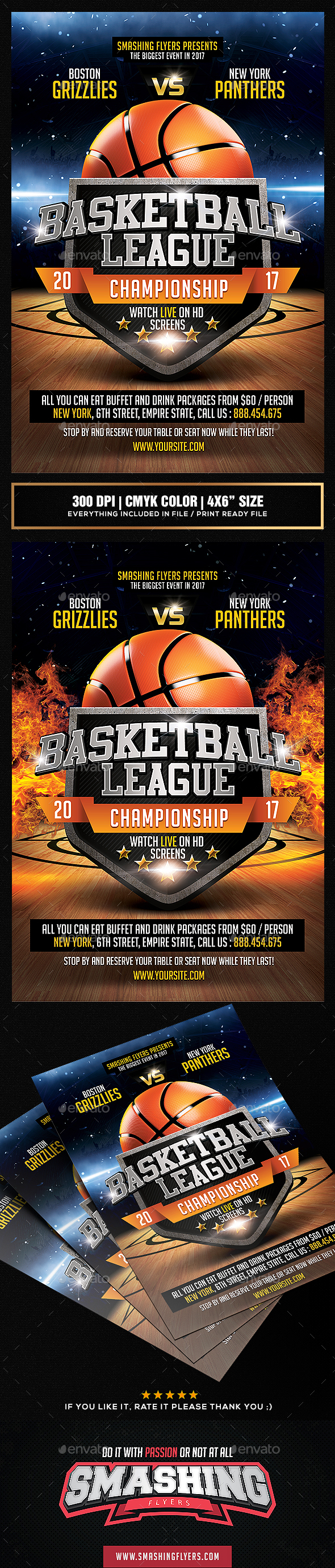 Basketball League Flyer Template