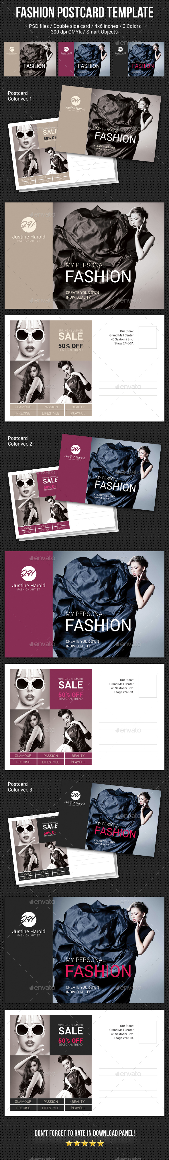 Fashion Postcard Template 4 - Cards & Invites Print Templates