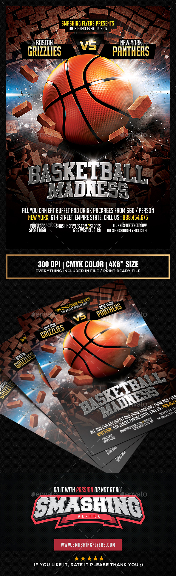 Basketball Madness Flyer template - Sports Events