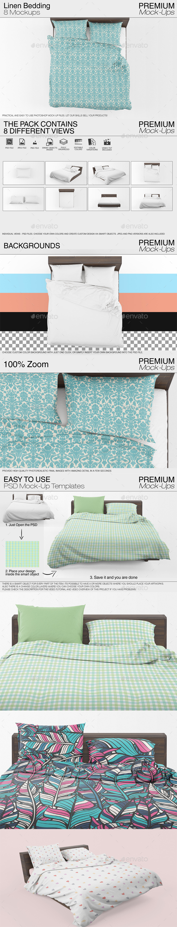 Linen Bedding Mockup - Print Product Mock-Ups