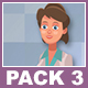 Female Doctor And Male Patient Walking Cartoon Characters Pack 3