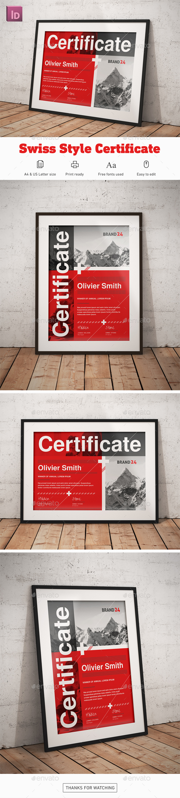 Swiss Style Certificate - Certificates Stationery