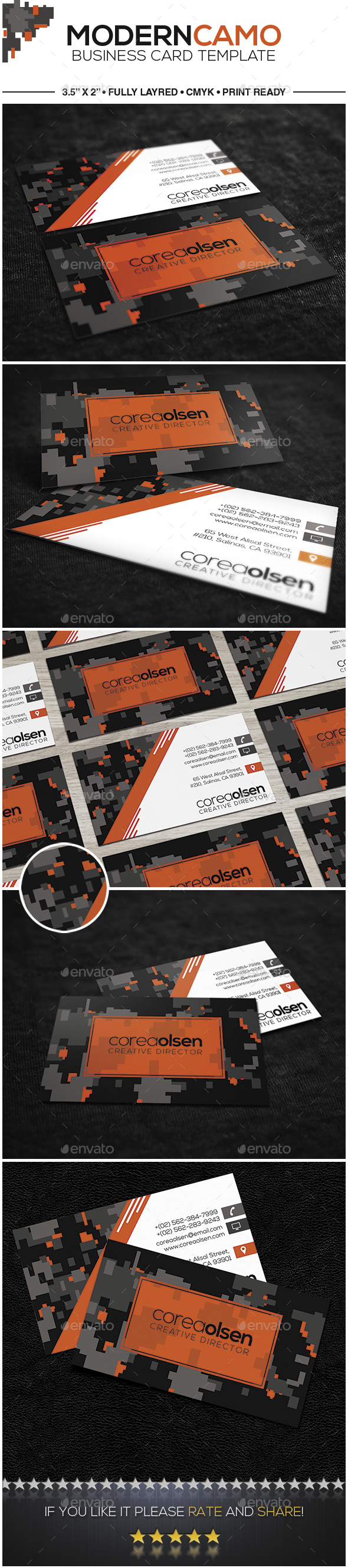 Modern Camouflage Business Card by TodorKolevDesign | GraphicRiver