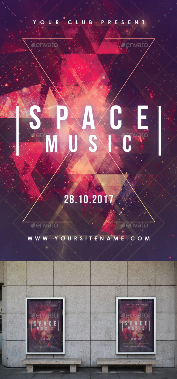 Space Party Abstract Poster - Clubs & Parties Events