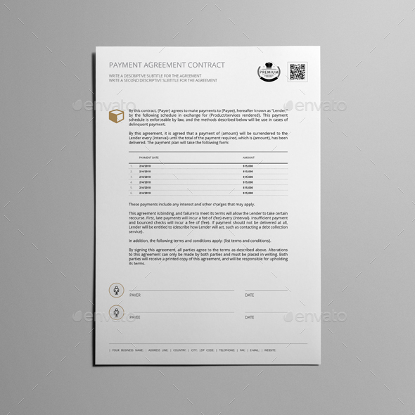 Payment Agreement Contract Template By Keboto  Graphicriver