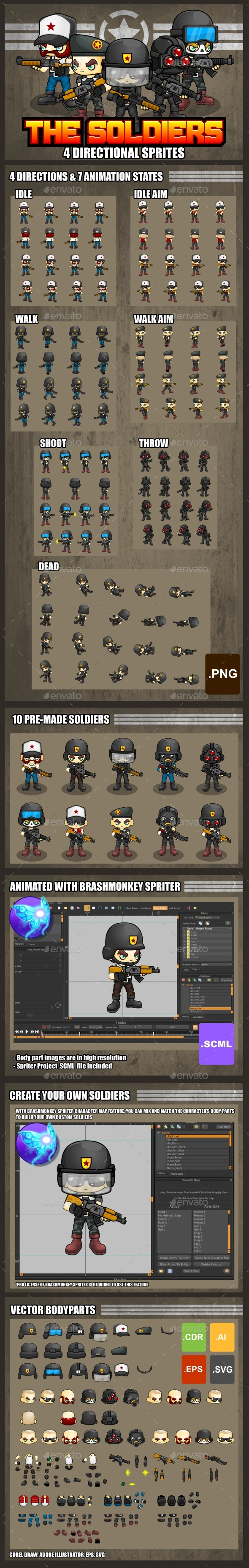 The Soldiers - Game Sprites - Sprites Game Assets