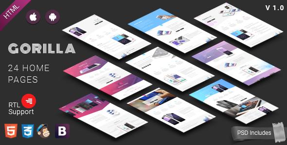 Gorilla | Responsive App Landing Page