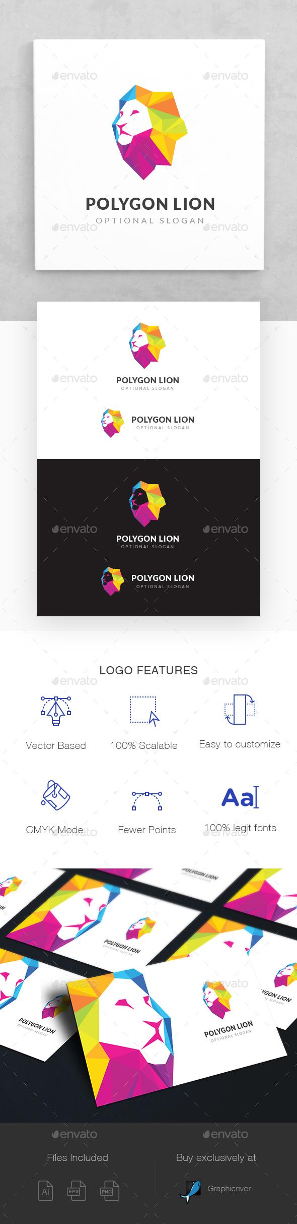 Polygon Lion Logo - Animals Logo Templates