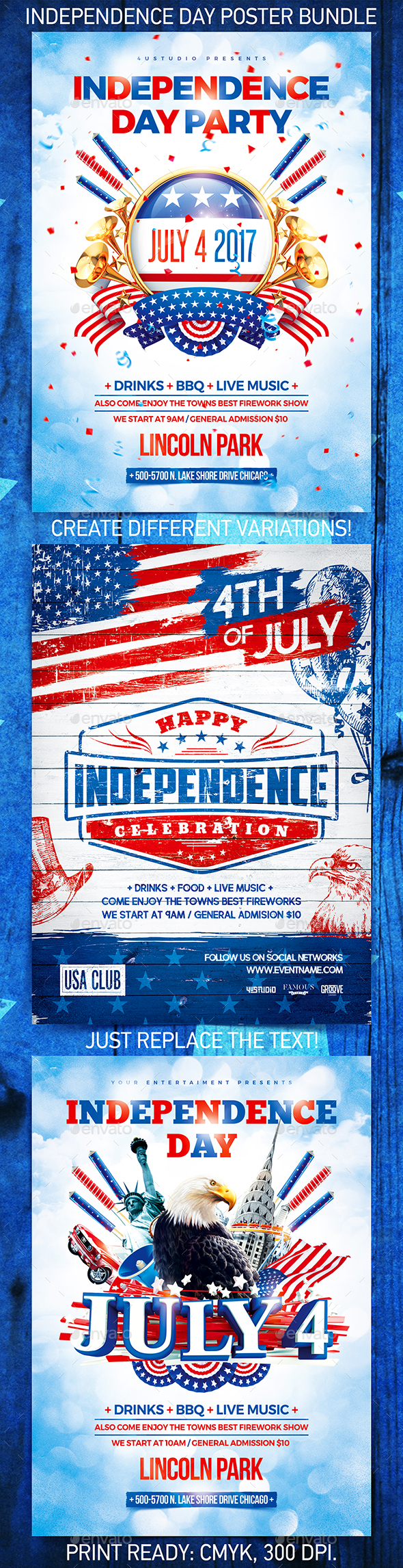 Independence Day Party Poster Bundle vol.2 - Holidays Events
