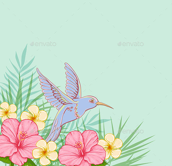 Pink Flowers and Flying Bird - Animals Characters