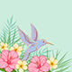Pink Flowers and Flying Bird - GraphicRiver Item for Sale