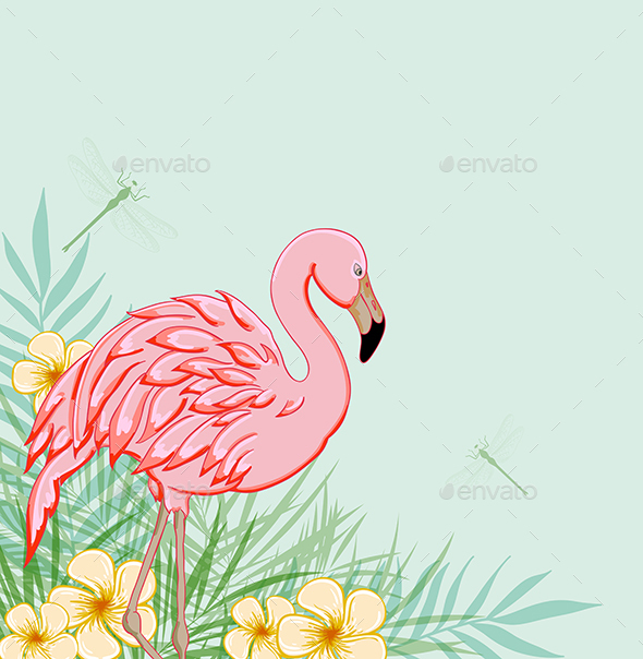 Pink Flamingo and Flowers - Animals Characters