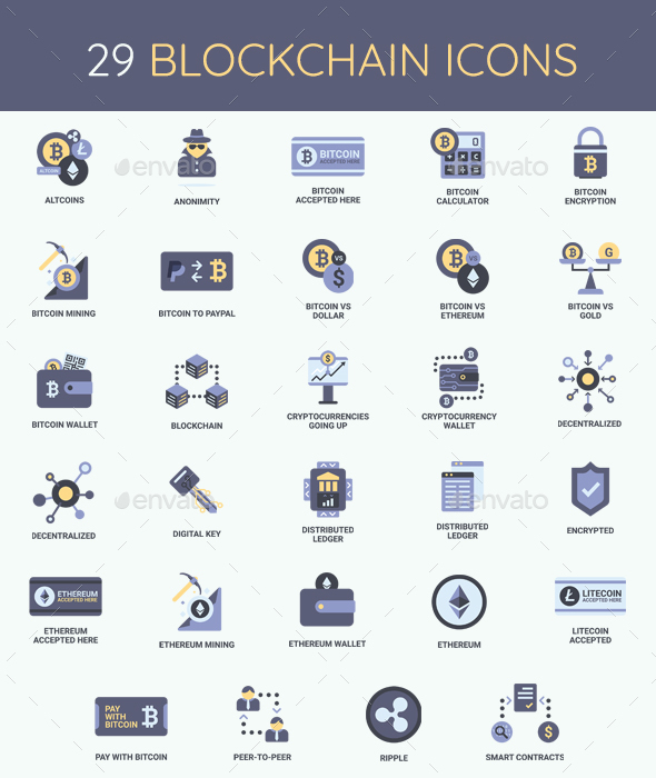Cryptocurrency, Bitcoin & Blockchain Icon Set by Krafted ...