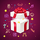 Party Card Flyer Invitation Birthday with Open Present Box. Vector - GraphicRiver Item for Sale