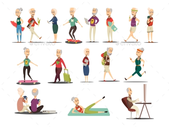 Elderly People Concept Icons Set - Sports/Activity Conceptual