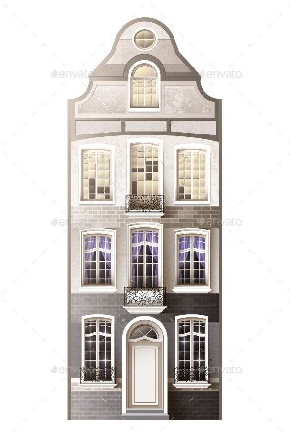 Classic house facade composition by macrovector graphicriver for Classic house facades