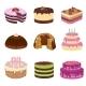 Birthday Party Vector Tasty Cakes. Anniversary