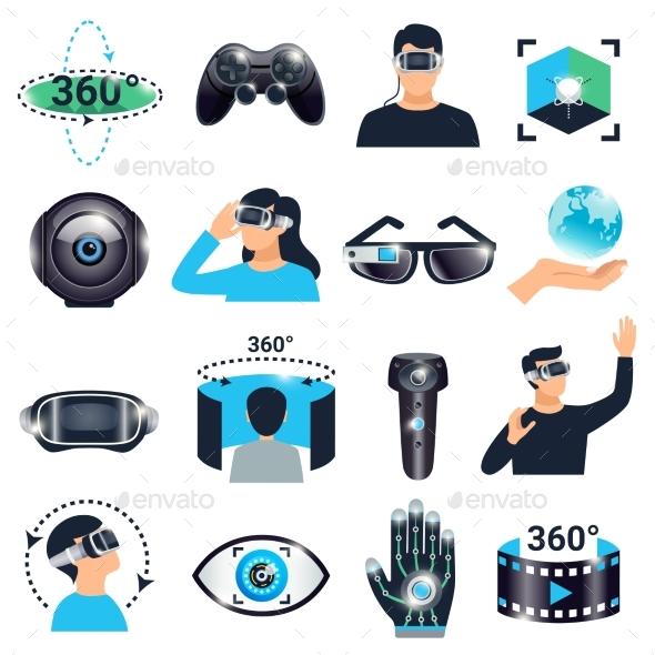 Virtual Reality Visualization Simulation Icon Set - Technology Conceptual
