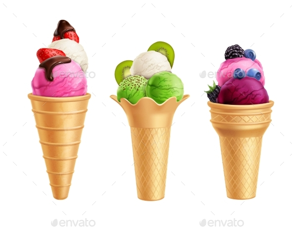 Ice Cream With Fruits Realistic Set - Food Objects