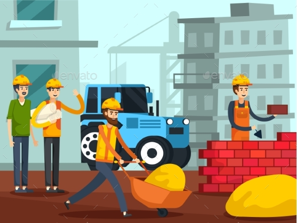 Construction Workers Characters Flat Poster - Industries Business