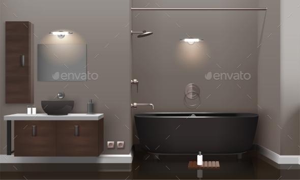 Realistic Bathroom Interior Design - Objects Vectors