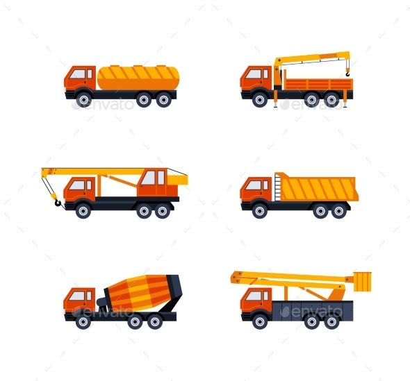 Construction Vehicles - Modern Vector Flat Design - Industries Business