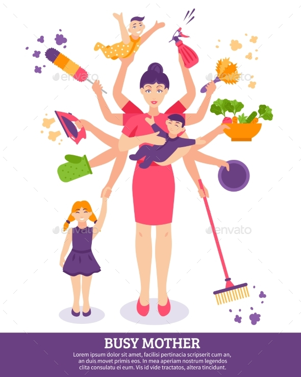 Busy Mother Concept Illustration - Miscellaneous Vectors