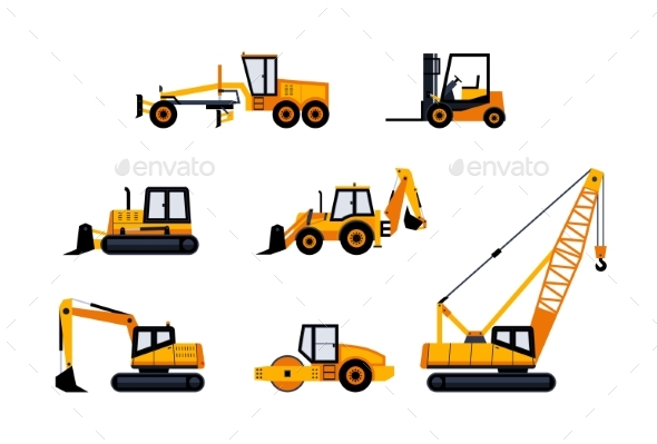 Construction Vehicles - Modern Vector Icon Set - Industries Business