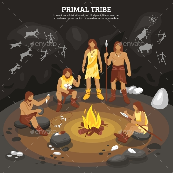 Primal Tribe People Illustration - Nature Conceptual