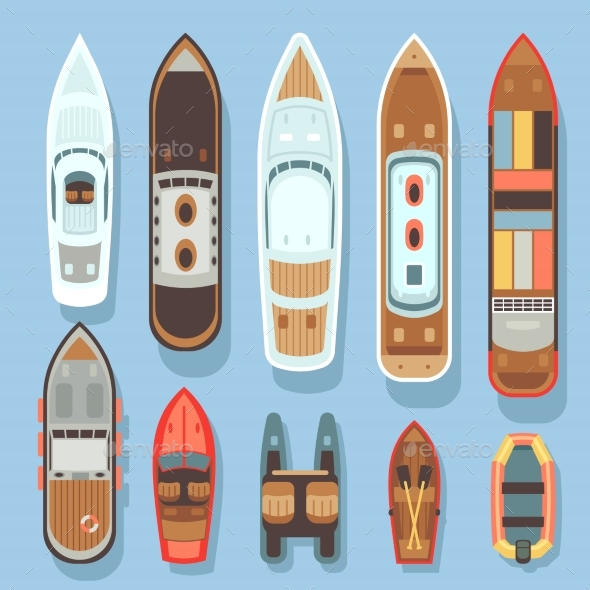 Top Aerial View Boat and Ocean Ships Vector Set - Objects Vectors