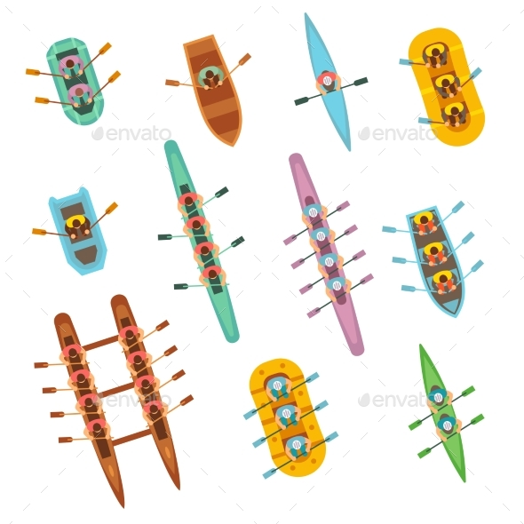 Top View Rowing Sport Boats with Team Vector Set - Objects Vectors