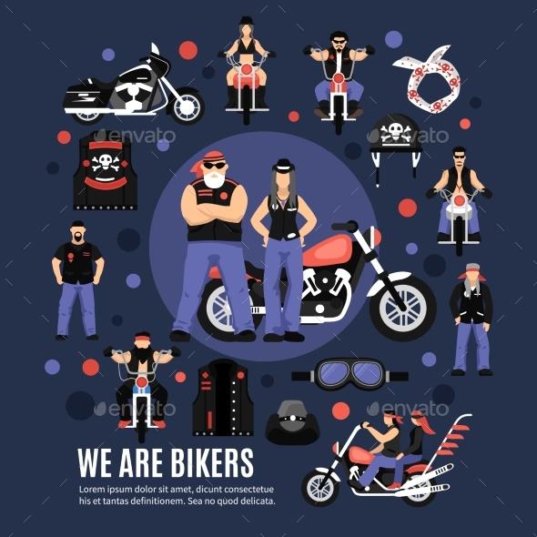 Bikers Icons Set - Miscellaneous Vectors