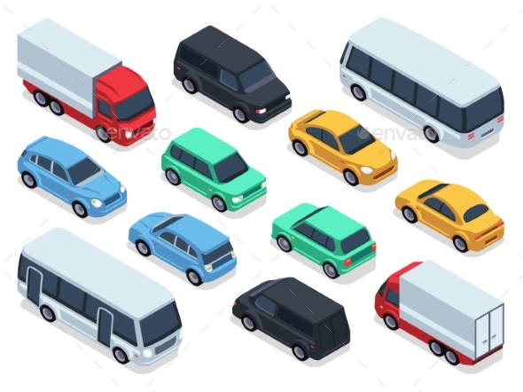 Isometric Vehicles and Cars for 3d City Traffic - Objects Vectors