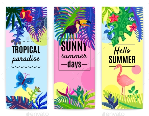 Tropical Paradise Vertical Banners Collection - Animals Characters