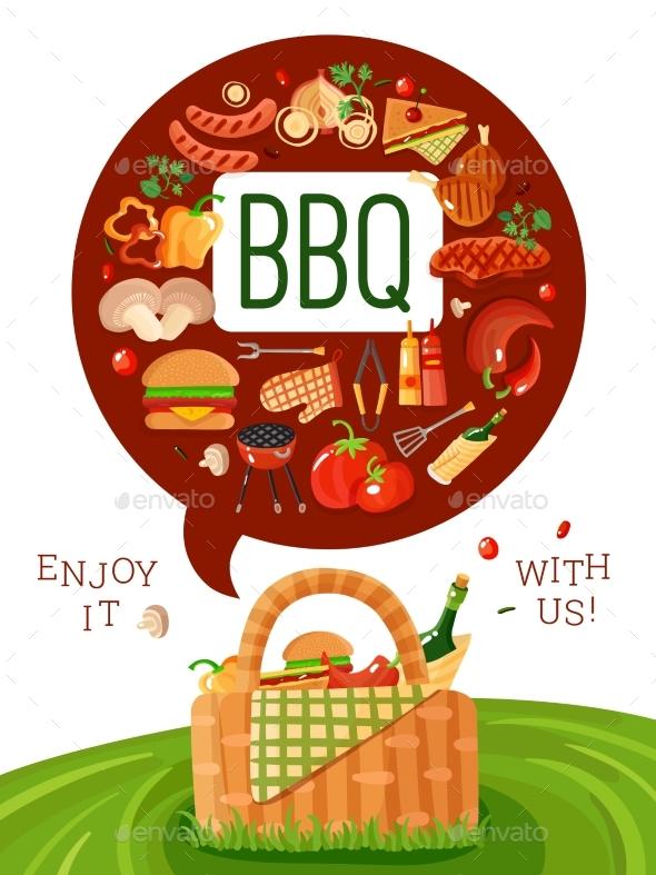 BBQ Picnic Flat Invitation Poster - Food Objects