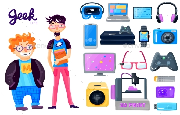 Cartoon Character Gadgets Icons Set - Computers Technology
