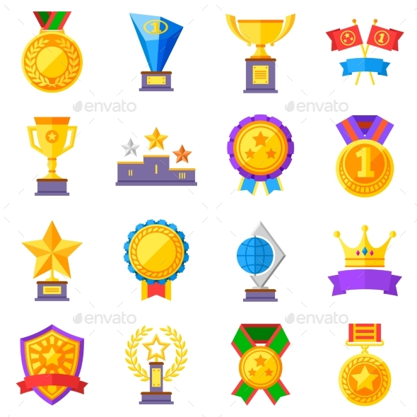 GraphicRiver Flat Rewards Vector Icons Gold Cups Medals 20232139