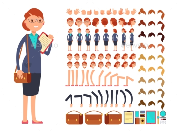 Cartoon Flat Businesswoman Vector Character - People Characters