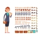 Cartoon Flat Businesswoman Vector Character