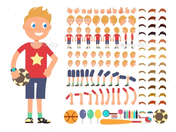 Cartoon Boy Character. Vector Creation Constructor - People Characters