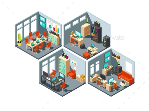 Isometric Business Offices - Objects Vectors
